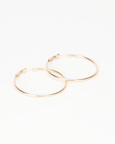 Joy Collectables Ladies Hoop Earrings 5cm Gold-tone