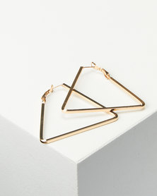 Joy Collectables Ladies Fashion Triagle Earrings 5cm Gold-tone