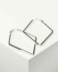 Joy Collectables Ladies Fashion Drop Earrings 6cm Silver-tone