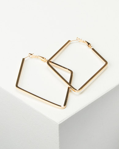 Joy Collectables Ladies Fashion Drop Earrings 6cm Gold-tone