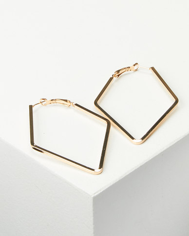 Joy Collectables Ladies Fashion Drop Earrings 5cm Gold-tone