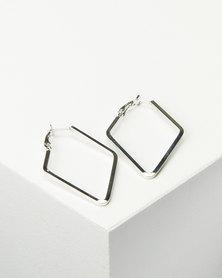 Joy Collectables Ladies Fashion Drop Earrings 4cm Silver-tone