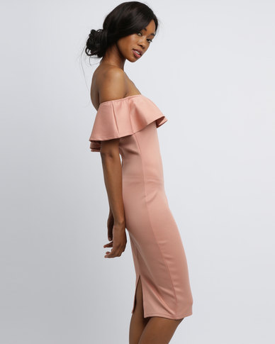 59e835f77efa AX Paris Off Shoulder Frill Bodycon Blush | Zando