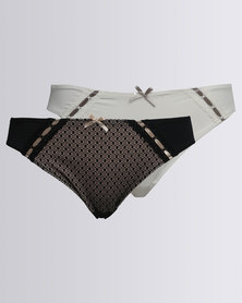 Playtex Everyday Comfort Ebony 2 Pack Hi Cut Panty Multi