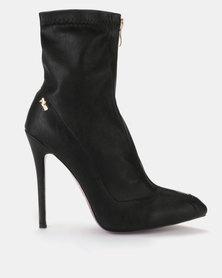 Plum Delchi Black Stretch Heeled Boot