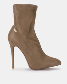 Plum Delchi Taupe Stretch Heeled Boot