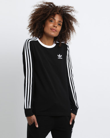 4a959d6110 adidas Ladies 3-Stripe Long Sleeve Tee Black | Zando