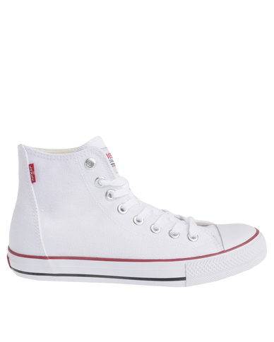 3b36cfadde2f Levi's ® Trucker Hi Casual High Top Lace Up Canvas Shoe White | Zando