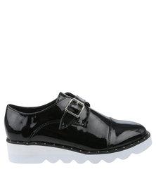 Footwork Ren Casual Flat Monk Strap Shoe Black