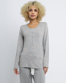 Poppy Divine Viscose Print PJ Top With Button Stand Grey