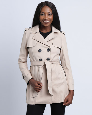 Revenge Trench Coat With Belt Tan