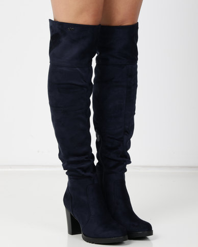 PLUM Wiltshire Navy Knee High Boot Blue