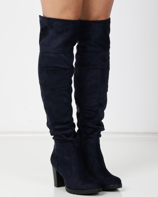 4bf39a7ab5ba41 PLUM Wiltshire Navy Knee High Boot Blue