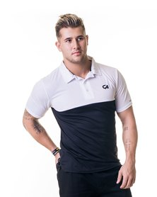Custom Apparel Dri-Feel Golf Tee Black White