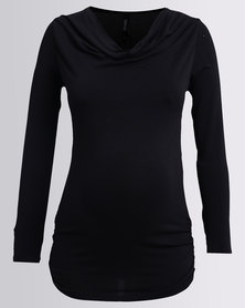 Me-A-Mama Cowl Neck Feeder Top Black