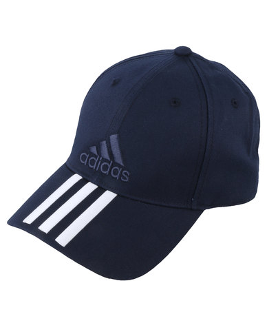315763627f1 adidas Performance 6 Panel 3-Stripe Cap Cotton Blue