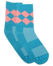 Sexy Socks Cycling Diamonds Teal
