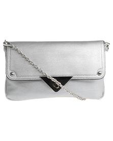 Vikson Tri Trim CrossBody Bag Silver