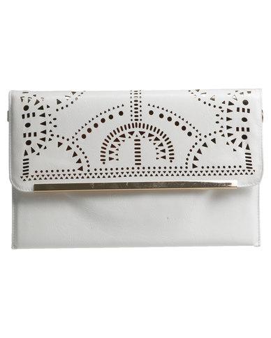 2e146d904 Vikson Perforated Metal Trim Clutch Bag White | Zando