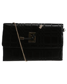 Vikson Double Tab Clutch Bag Black