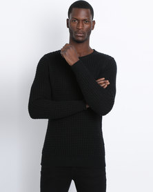 Silent Theory Convent Knitwear Crew Jumper Black