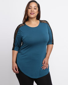 Utopia Plus T-Shirt With Lace Inset Petrol