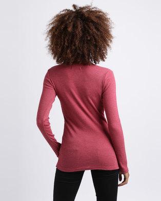 Utopia Rib Henley T-Shirt Burgundy