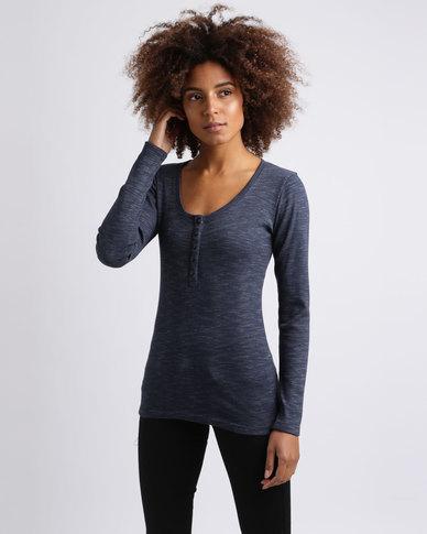 Utopia Rib Henley T-Shirt Navy
