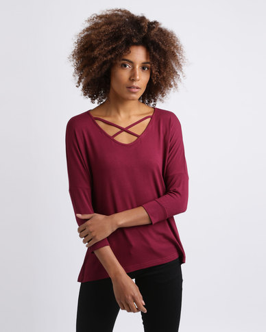 Utopia  Top With Criss Cross Trim Burgundy