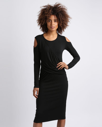 Utopia Cold Shoulder Draped Dress Black