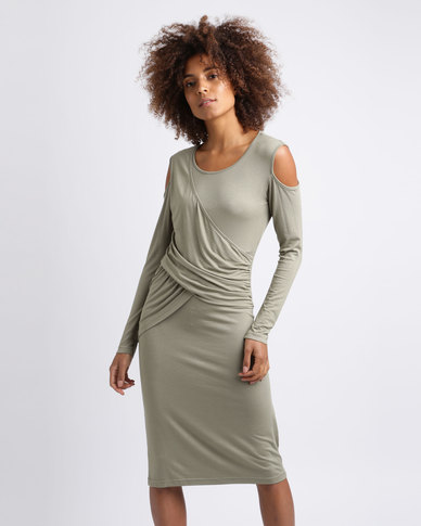 Utopia Cold Shoulder Draped Dress Olive