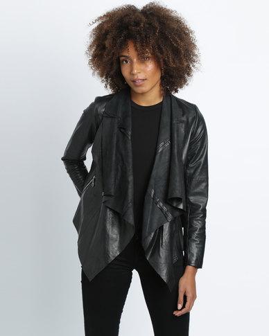 Vintage Zionist Neck Wrap Jacket Black