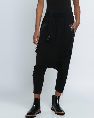 Vintage Zionist Ripped Crap Pants Black