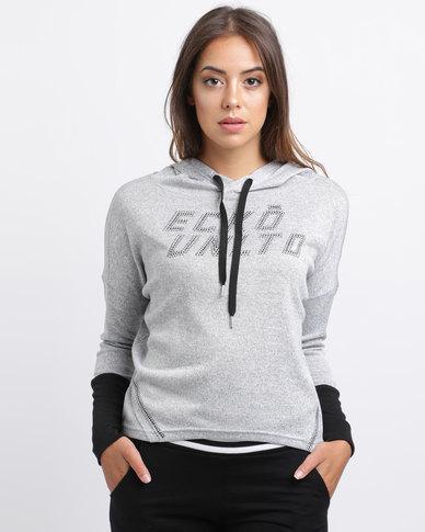 ECKÓ Unltd Hood With Contrast Cuff And Zip Grey