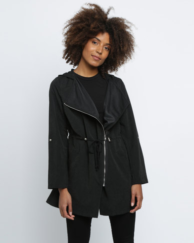 Revenge Long Biker Jacket Black