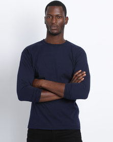 Fruit of the Loom Classic Long Sleeve Crew Navy