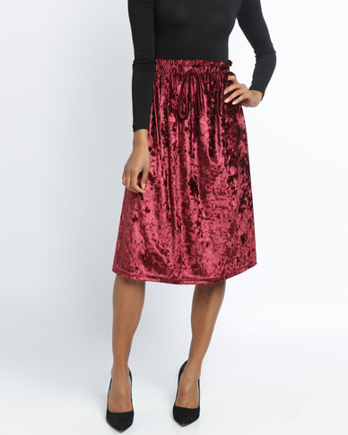 Utopia Crushed Velvet Skirt Burgundy