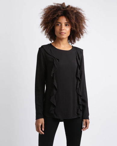Utopia Viscose Ruffle Top Black