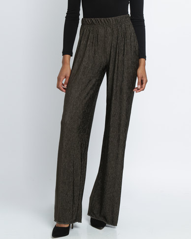 Utopia Crushed Knit Wide Leg Pants Olive