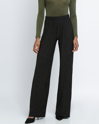 Utopia Crushed Knit Wide Leg Pants Black