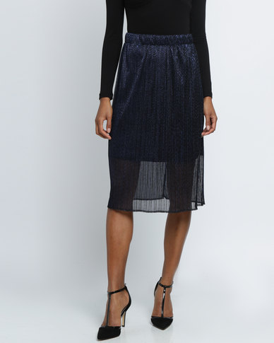 Utopia Plisse Midi Skirt Navy