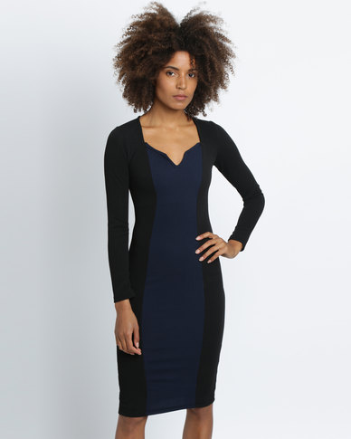 Utopia Colourblock Sheath Dress Black/Navy