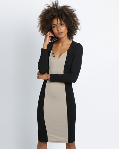 Utopia Colourblock Sheath Dress Black/Stone