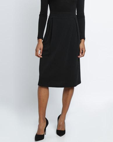 Utopia Pleated Ponti Skirt Black
