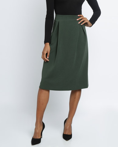Utopia Pleated Ponti Skirt Military Green