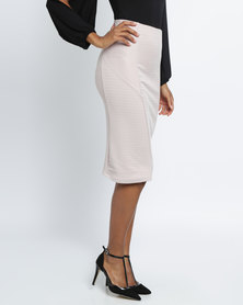 Utopia Ribbed Ponti Pencil Skirt Nude