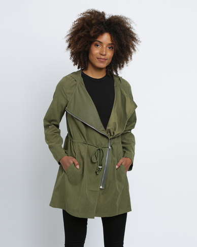 Revenge Long Biker Jacket Khaki