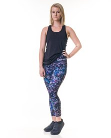Custom Athletic Ladies Performance Tights Star Cluster Blue Purple