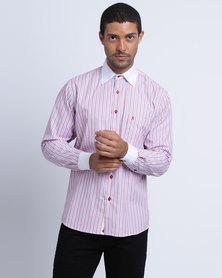 Phashash Graham Shirt Dusty Pink Indigo Blue and Crisp White Vertical Stripe