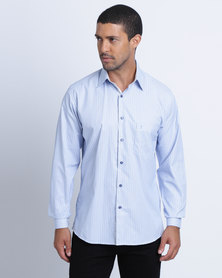 Phashash Mmusi Shirt Dove Blue and Cream White Vertical Stripe